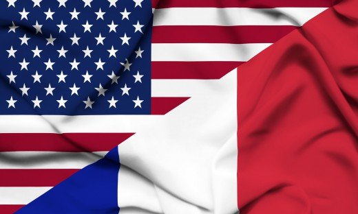 United,States,Of,America,And,France,Waving,Flag